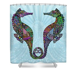 Electric Seahorses Shower Curtain by Tammy Wetzel