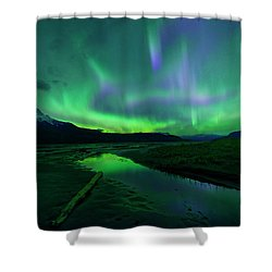 Electric Skies Over Jasper National Park Shower Curtain by Dan Jurak