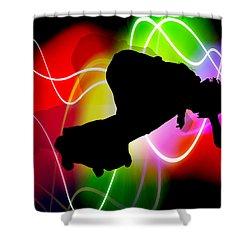 Electric Spectrum Skateboarder Shower Curtain by Elaine Plesser