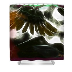 Shower Curtain featuring the photograph Electric Sunflower by EricaMaxine  Price