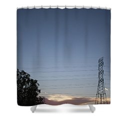 Electric Sunset II Shower Curtain by Anne Rodkin