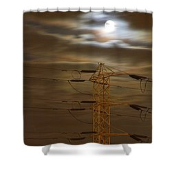 Electric Tower Under Supermoon Shower Curtain
