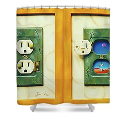 Electric View Miniature Shown Closed And Open Shower Curtain