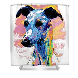 Electric Whippet Shower Curtain by Kathleen Sepulveda