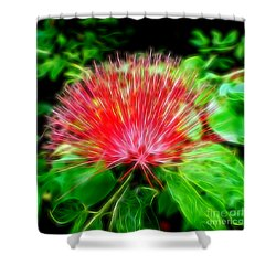 Electrified Neon Red Fan Shower Curtain
