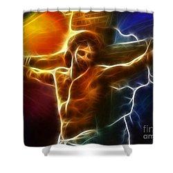 Electrifying Jesus Crucifixion Shower Curtain by Pamela Johnson