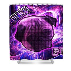 Electrifying Pug Shower Curtain