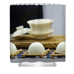 Elegant Chinese Tea Set Shower Curtain by Yali Shi