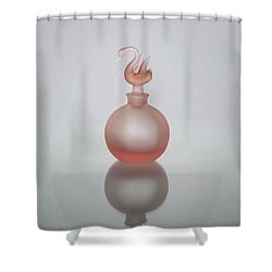Shower Curtain featuring the photograph Elegant Frosted Pink Vintage Perfume Bottle by David and Carol Kelly