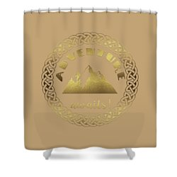 Shower Curtain featuring the digital art Elegant Gold Foil Adventure Awaits Typography Celtic Knot by Georgeta Blanaru