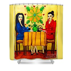 Shower Curtain featuring the painting Elegant Ladies In A Coffee-shop by Don Pedro De Gracia