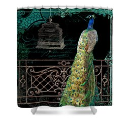 Elegant Peacock Iron Fence W Vintage Scrolls 4 Shower Curtain by Audrey Jeanne Roberts