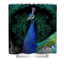 Elegant Peacock W Vintage Scrolls  Shower Curtain by Audrey Jeanne Roberts