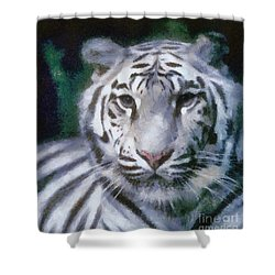Shower Curtain featuring the painting Elegant White Tiger by Elizabeth Coats