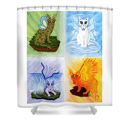 Elemental Cats Shower Curtain by Carrie Hawks