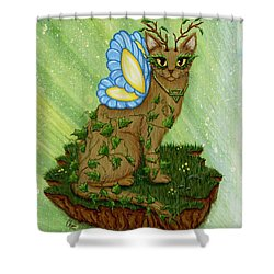 Elemental Earth Fairy Cat Shower Curtain by Carrie Hawks