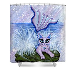 Elemental Water Mermaid Cat Shower Curtain