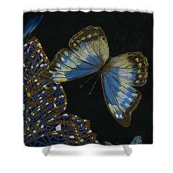 Shower Curtain featuring the painting Elena Yakubovich - Butterfly 2x2 Top Right Corner by Elena Yakubovich