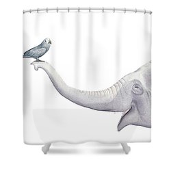 Elephant And Bird Watercolor Shower Curtain by Taylan Apukovska