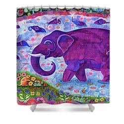Elephant And Mice Shower Curtain by Jane Tattersfield