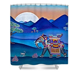 Shower Curtain featuring the painting Elephant And Monkey Stroll by Lori Miller