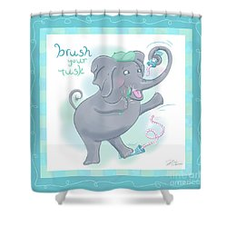 Elephant Bath Time Brush Your Tusk Shower Curtain