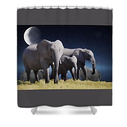 Elephant Bath Time Painting Shower Curtain by Ericamaxine Price