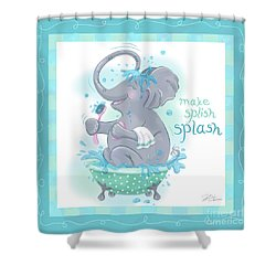 Elephant Bath Time Splish Splash Shower Curtain
