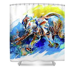 Shower Curtain featuring the painting Elephant Calf Playing With Butterfly by Zaira Dzhaubaeva