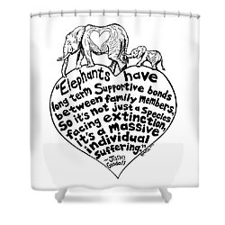 Elephant Family Drawing Shower Curtain