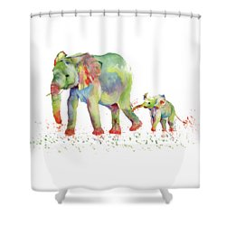Elephant Family Watercolor  Shower Curtain