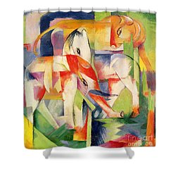Elephant Horse And Cow Shower Curtain by Franz Marc