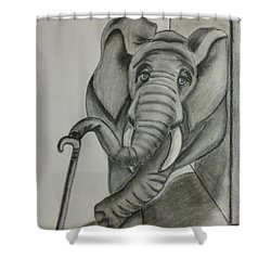 Elephant Still Waiting Shower Curtain by Kelly Mills