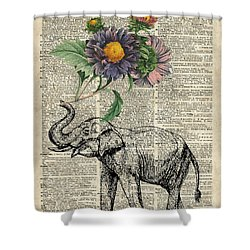 Elephant With Flowers Shower Curtain by Jacob Kuch