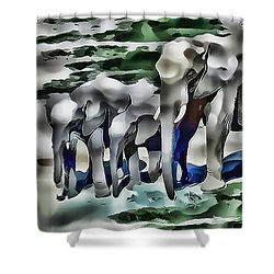 Elephants Eating In Abstract Shower Curtain