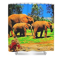 Elephants In Abstract 7 Shower Curtain