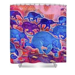 Elephants Shower Curtain by Jane Tattersfield