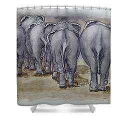 Elephants Leaving...no Butts About It Shower Curtain by Kelly Mills