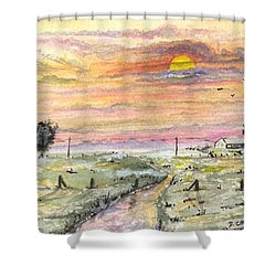 Shower Curtain featuring the digital art Elevator In The Sunset by Darren Cannell