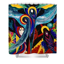 Shower Curtain featuring the painting Grieving by Marina Petro