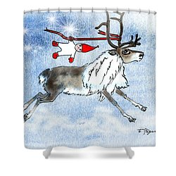 Elf And Reindeer Shower Curtain