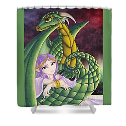 Elf Girl And Dragon Shower Curtain