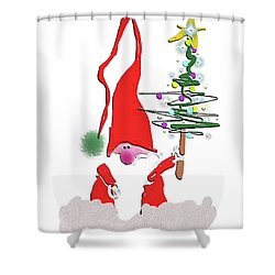 Shower Curtain featuring the mixed media Elf  by Larry Talley