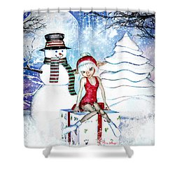 Elfin Winter Holidays Shower Curtain