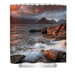 Shower Curtain featuring the photograph Elgol Stormy Sunset by Grant Glendinning
