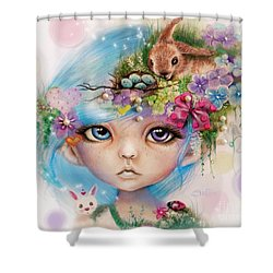 Shower Curtain featuring the drawing Eliza - Easter Elf - Munhkinz Character by Sheena Pike