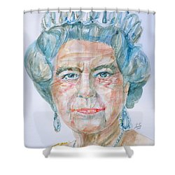 Shower Curtain featuring the painting Elizabeth II - Watercolor Portrait.2 by Fabrizio Cassetta