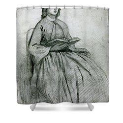 Elizabeth Siddall In A Chair Shower Curtain by Gabriel Rossetti
