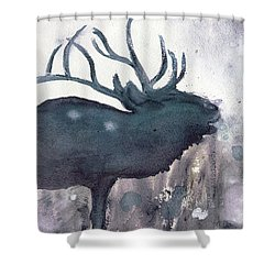 Shower Curtain featuring the painting Elk by Dawn Derman