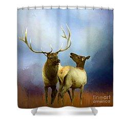 Shower Curtain featuring the photograph Elk Feeling Frisky by Myrna Bradshaw